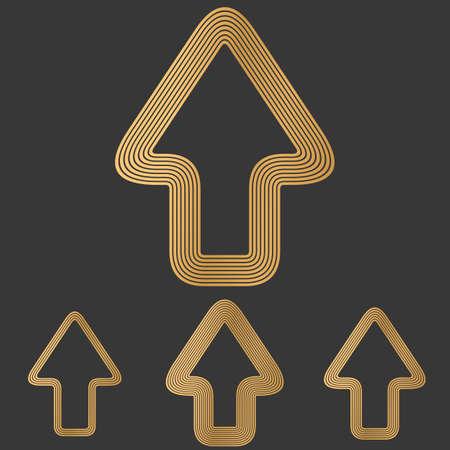 forward arrow: Bronze line forward arrow logo design set Illustration