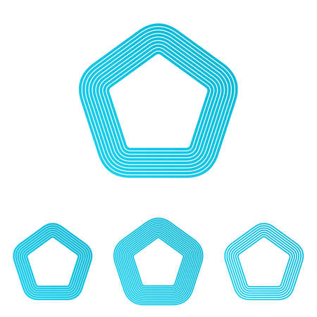 pentagon: Cyan line shape pentagon logo design set Illustration