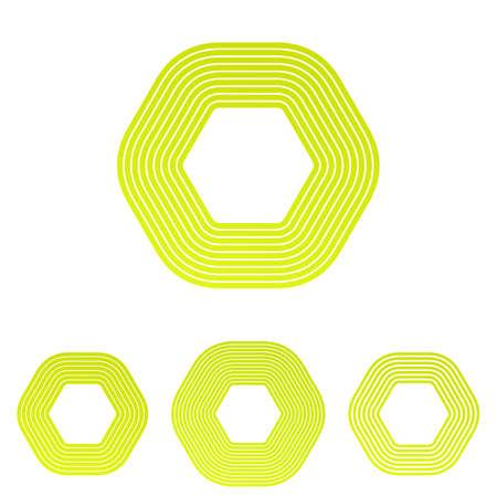 yellow line: Yellow line hexagon shape logo design set