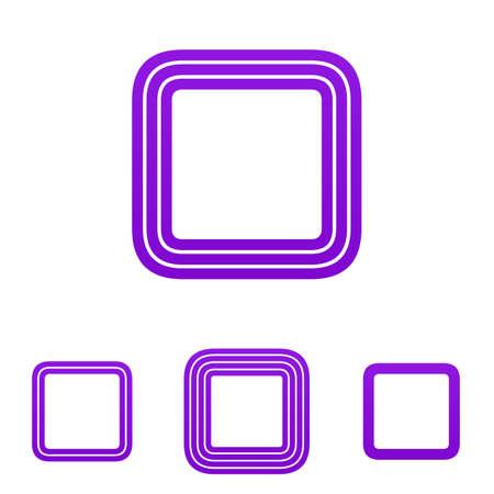 square logo: Purple line rounded square logo design set Illustration