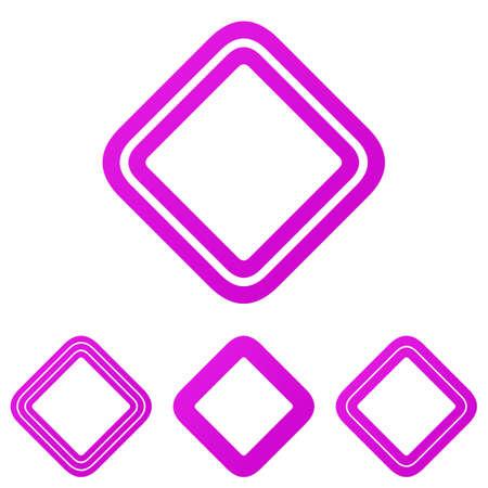 square logo: Magenta line rounded square logo design set
