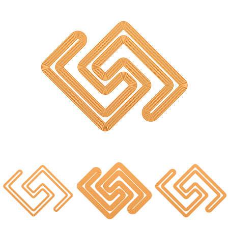 research icon: Orange line research icon logo design set