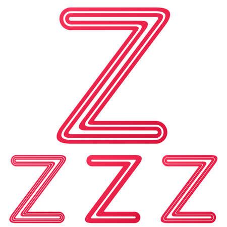 letter z: Crimson line letter z logo design set Illustration