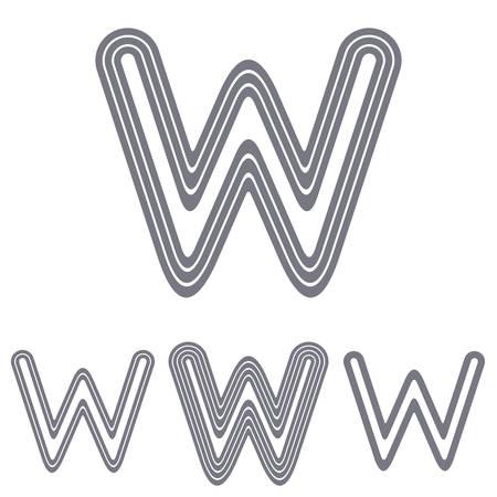 grey line: Grey line letter w logo design set