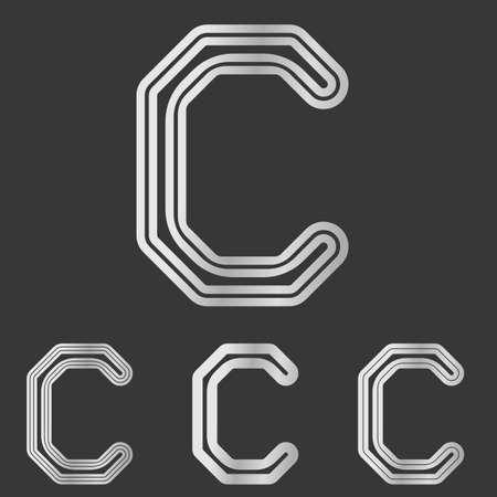 Silver line letter c logo design set