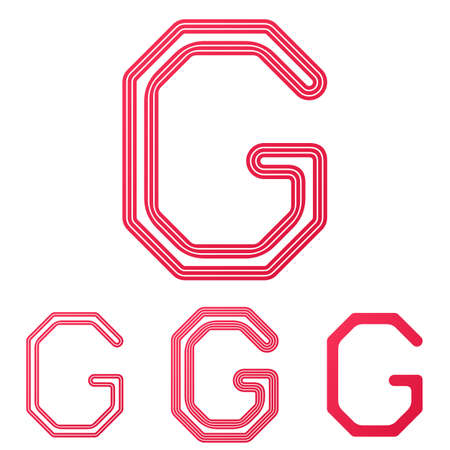 crimson: Crimson line letter g logo design set Illustration