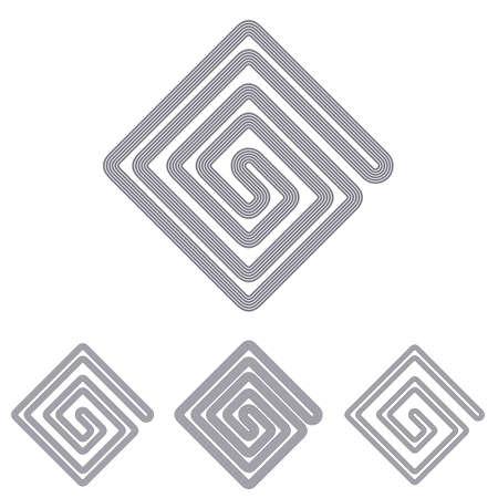 grey line: Grey line science icon logo design set Illustration