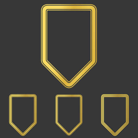security token: Golden line shield icon logo design set Illustration