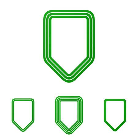 honour guard: Green line shield icon logo design set