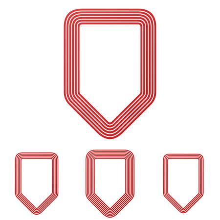 honour guard: Red line shield symbol logo design set