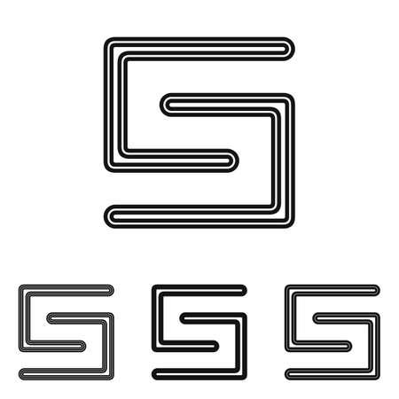 logo element: Line letter s icon logo design set Illustration
