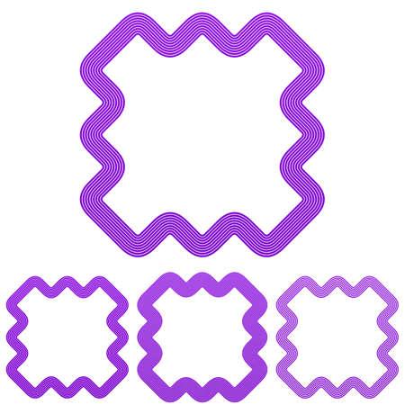 logo marketing: Purple line marketing icon logo design set