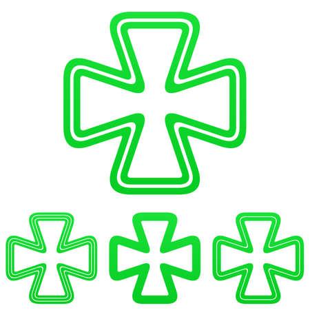 clover buttons: Green line luck symbol logo design set