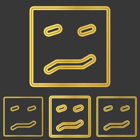 ambiguous: Golden line fear symbol logo design set