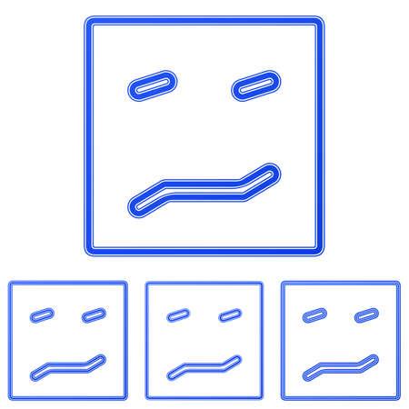ambiguous: Blue line fear logo icon design set