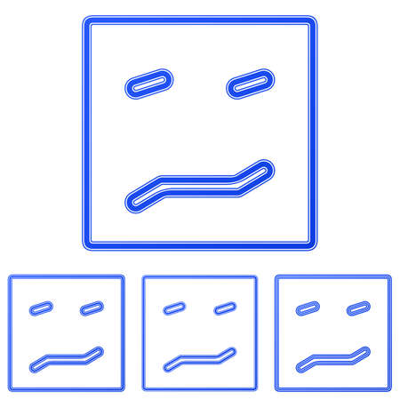 apprehension: Blue line fear logo icon design set