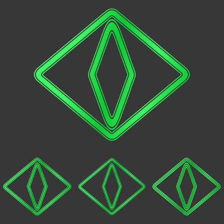cat eye: Green line cat eye logo design set Illustration