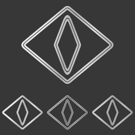 cat eye: Silver line cat eye logo design set