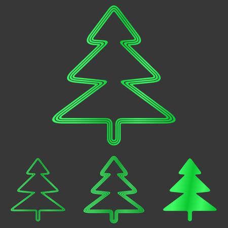 tree logo: Green line pine tree logo design set