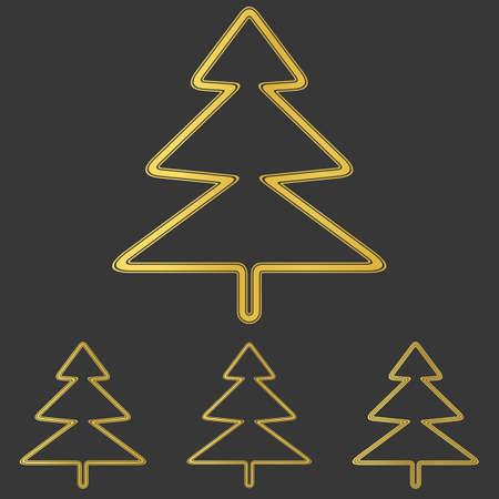 tree logo: Golden line pine tree logo design set