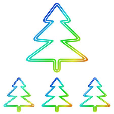 tree logo: Rainbow line pine tree logo design set Illustration