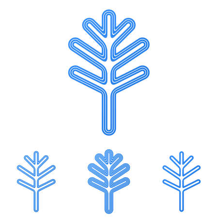 tree logo: Blue line tree symbol logo design set