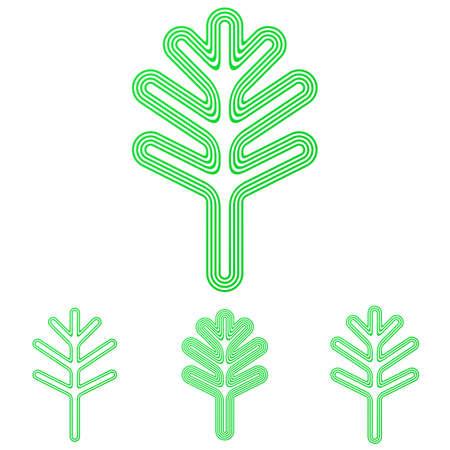 green line: Green line plant symbol logo design set