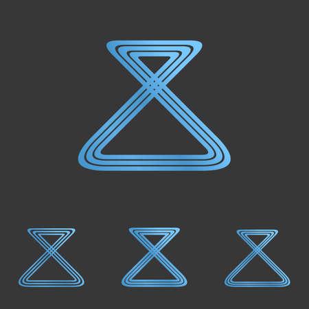 metallic: Blue metallic line loop logo design set
