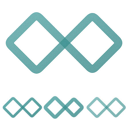 infinite loop: Teal line infinite logo icon design set