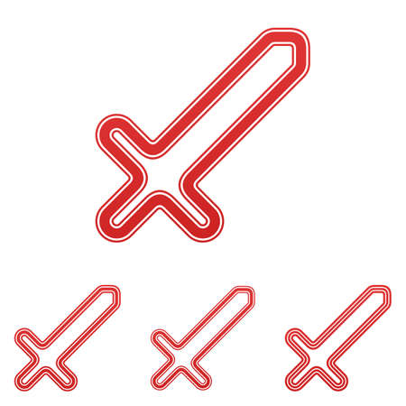 cutlass: Red line sword icon logo design set Illustration