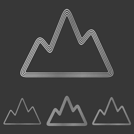 silver: Silver line mountain symbol logo design set