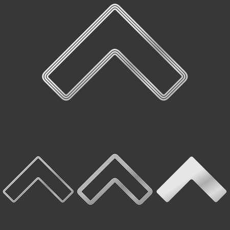 flechas direccion: línea de flecha icono del logotipo conjunto de diseño de plata Vectores