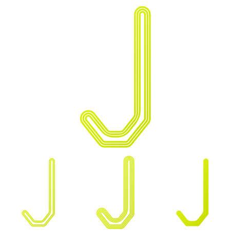 yellow line: Yellow line letter j logo design set