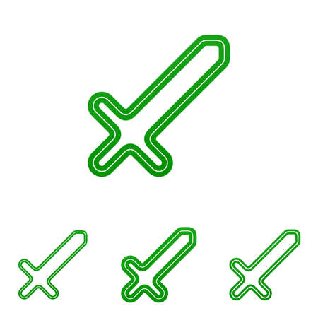 longsword: Green line sword icon logo design set