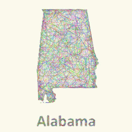 alabama: Alabama line art map from colorful curved lines
