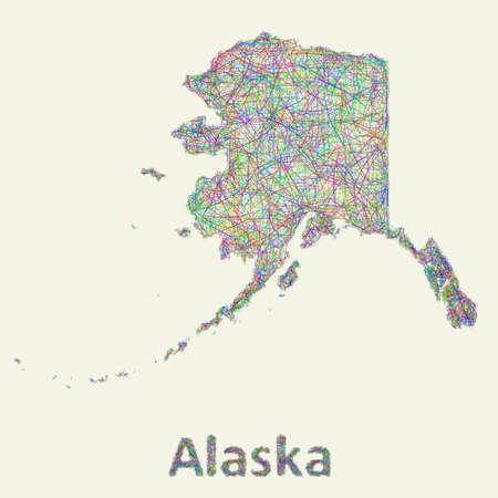 coastlines: Alaska line art map from colorful curved lines Illustration