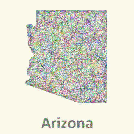 curved lines: Arizona line art map from colorful curved lines Illustration