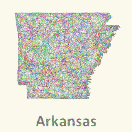 curved lines: Arkansas line art map from colorful curved lines