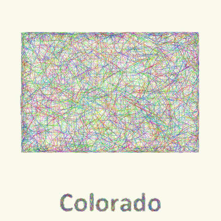 Colorado line art map from colorful curved lines