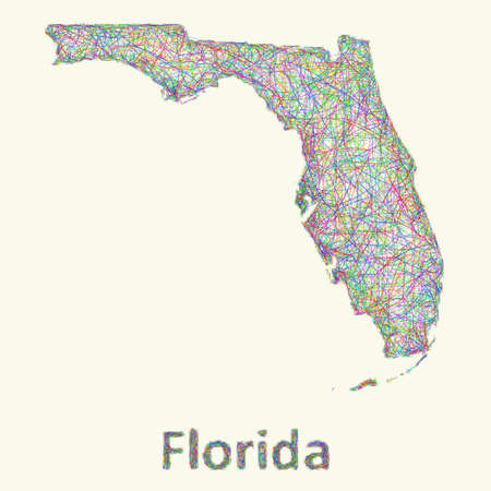 curved lines: Florida line art map from colorful curved lines