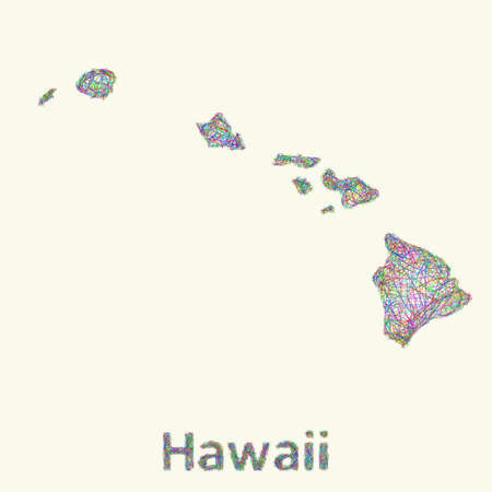 oahu: Hawaii line art map from colorful curved lines