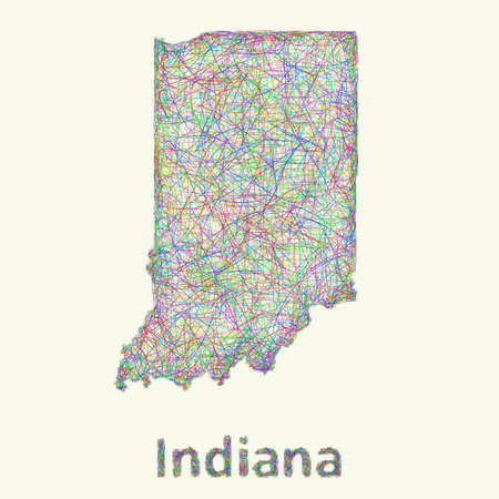 Indiana line art map from colorful curved lines
