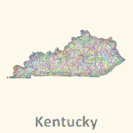 kentucky: Kentucky line art map from colorful curved lines