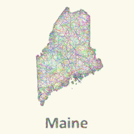 new england: Maine line art map from colorful curved lines