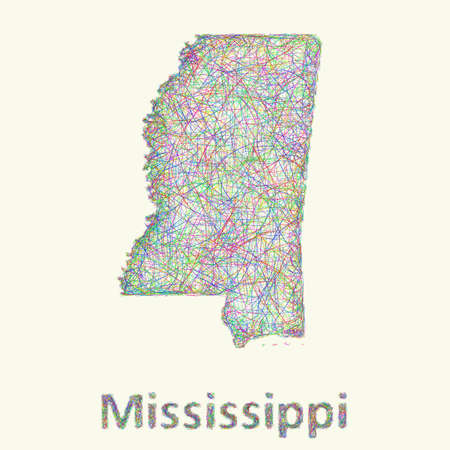 curved lines: Mississippi line art map from colorful curved lines