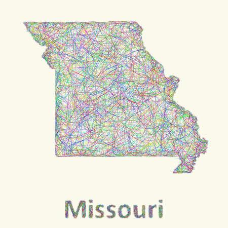 Missouri line art map from colorful curved lines Ilustração