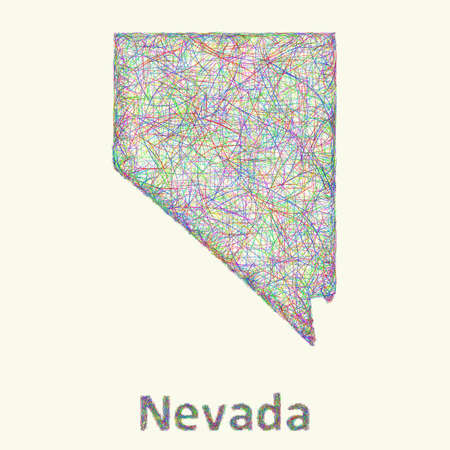 carson city: Nevada line art map from colorful curved lines