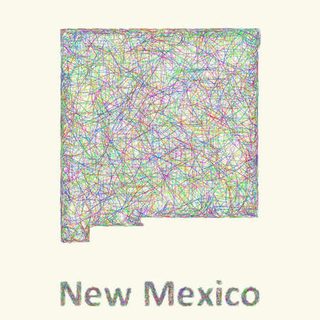 nm: New Mexico line art map from colorful curved lines