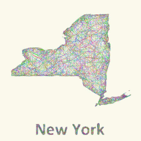 new york state: New York state line art map from colorful curved lines