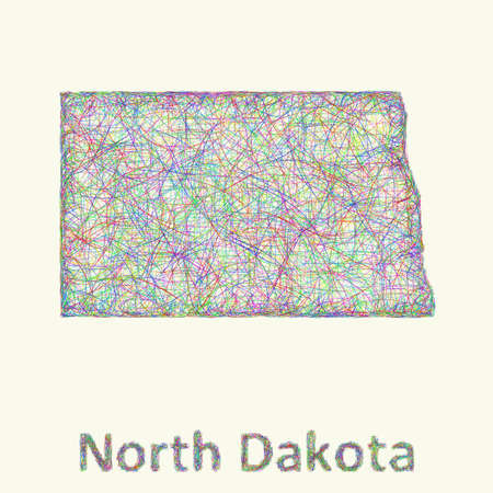 dakota: North Dakota line art map from colorful curved lines